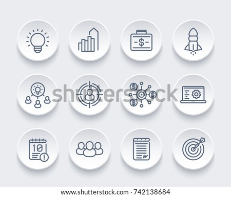startup, funding, initial capital, contract, ipo, target audience line icons set