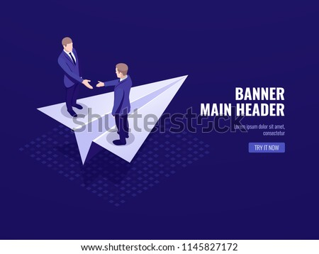 Startup icon, concept of business deal successful strategy plan, two businessmen stay on paper aircraft isometric vector dark neon