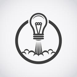 Startup idea icon. Light takes off like a rocket.