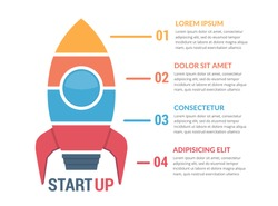 StartUp infographics with rocket divided on four elements with numbers and text, vector eps10 illustration