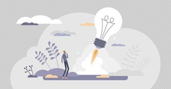 Startup innovation idea with creative project launch tiny persons concept. Business vision as rocket start vector illustration. Work progress opportunity as abstract beginning for successful growth.