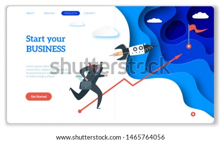 Startup landing. Web page or website for easy start up strategy creative project and internet starting your business vector concept with rocket and entrepreneur