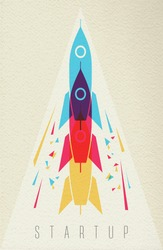 Startup launch concept, rocket ship for creative idea  in color style over texture background. EPS10 vector.