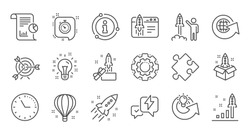 Startup line icons. Launch Project, Business report and Target. Strategy linear icon set. Quality line set. Vector