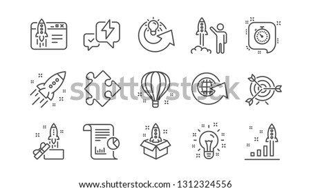 Startup line icons. Launch Project, Business report and Target. Strategy linear icon set.  Vector