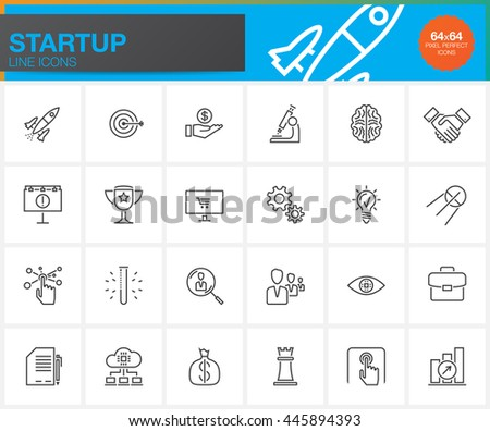 Startup line icons set, outline vector symbol collection, linear pictogram pack isolated on white, pixel perfect illustration #445894393