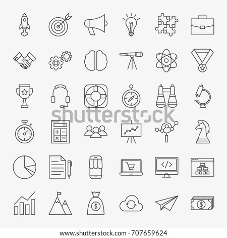 Startup Line Icons. Vector Set of Outline Web Development Symbols. #707659624