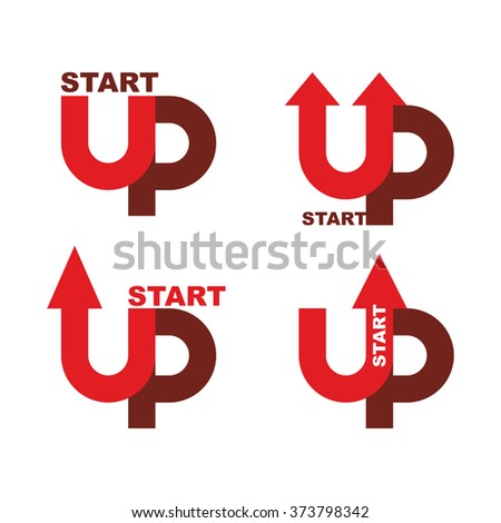 Startup logo. Character set for commencement of business. Red up arrow. Beginning of work ideas. Concept for your biz. Starting of production. Start upwards Launch of company