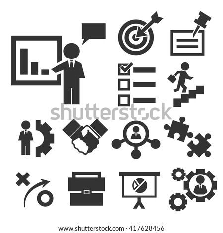 startup, new business icon set