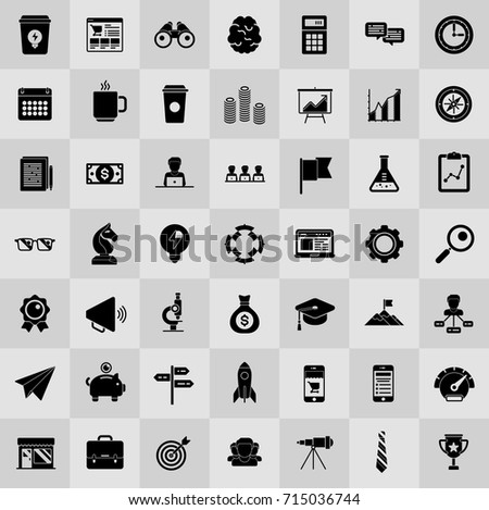startup new business icons set