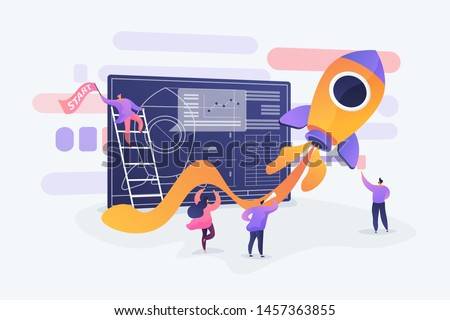 Startup new business project. Development process. Innovation product, creative idea. Start up launch, Start up venture, entrepreneurship concept. Vector isolated concept creative illustration