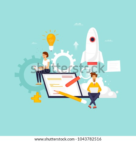 Startup, programmer, business project, idea, project management. Flat design vector illustration.
