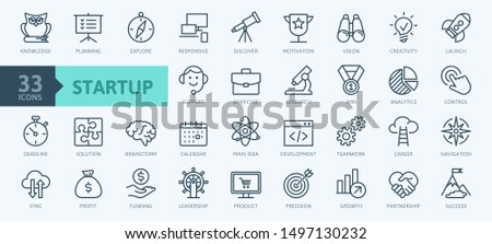 Startup project and development elements - minimal thin line web icon set. Outline icons collection. Simple vector illustration.