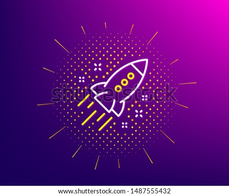 Startup rocket line icon. Halftone pattern. Launch Project sign. Innovation symbol. Gradient background. Startup rocket line icon. Yellow halftone pattern. Vector