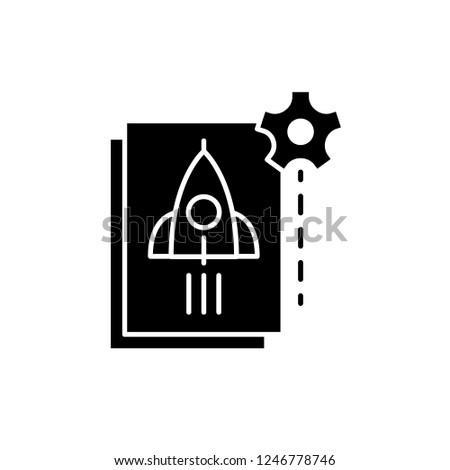 Startup startup black icon, vector sign on isolated background. Startup startup concept symbol, illustration