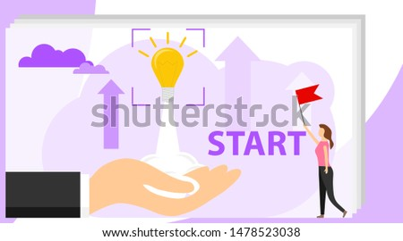 Startup. Startup Development. A light bulb takes off from a person's hand. Investing in a startup business. Vector illustration, vector.