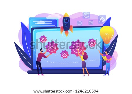 Startup team receive mentoring and training to accelerate growth and laptop. Startup accelerator, seed accelerator, startup mentoring concept. Bright vibrant violet vector isolated illustration