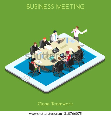 Startup Teamwork Brainstorming Tablet Virtual Executive Meeting Room. Interacting People Isometric Realistic Poses. 3D Flat Meeting Table Vector Icon Set. Remote Meeting Conference Room.