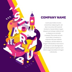 Startup technology concept. Vector creative abstract illustration of 3d startup word lettering typography with spaceship, decor element, text on color background. Isometric design for startup banner