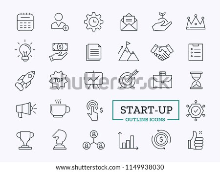 Startup Thin Line icons. Vector Outline Design Symbols for web.