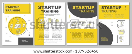 Startup training brochure template layout. Business seminar. Flyer, booklet, leaflet print design with linear illustrations. Vector page layouts for magazines, annual reports, advertising posters