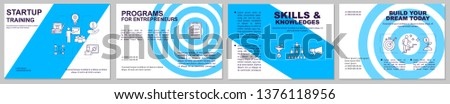Startup training brochure template layout. Businessman coaching. Flyer, booklet, leaflet print design with linear illustrations. Vector page layouts for magazines, annual reports, advertising posters
