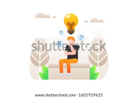 Startup vector. Thinking illustration. A man is sitting and thinking about ideas and innovations for his company with a large lightbulb icon.