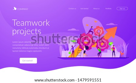 Startup work, success. Effective team-working, teamwork projects, teamwork skills, teamwork solutions, effective collaboration, Goal achievement concept. Website homepage header landing web page