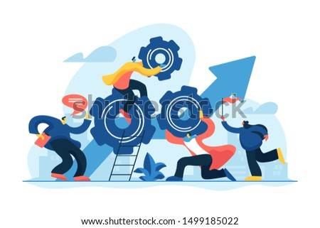 Startup work, success. Effective team-working, teamwork projects, teamwork skills, teamwork solutions, effective collaboration, Goal achievement concept. Vector isolated concept creative illustration
