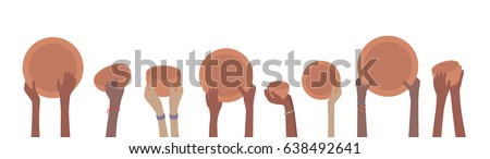 Starving Famine Hands with Empty Plates and Bowls Banner Сток-фото ©