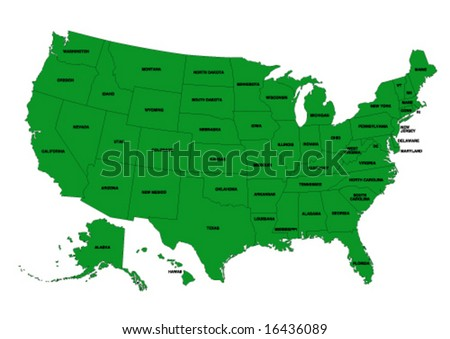 State editable vector map of the USA