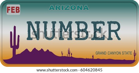 State of Arizona car registration number plates