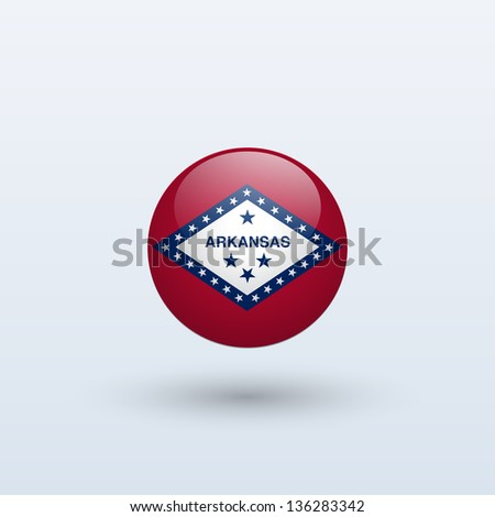 State of Arkansas flag circle form on gray background. Vector illustration.