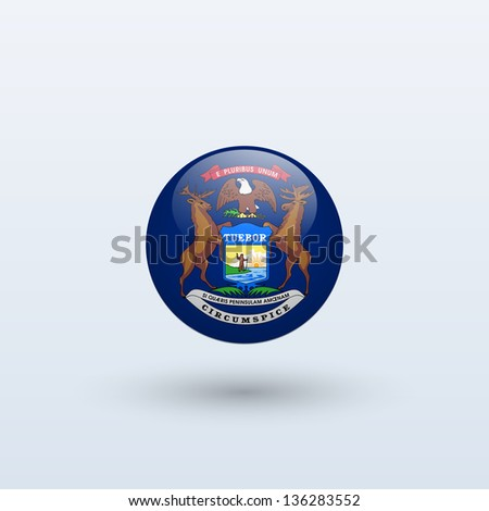 State of Michigan flag circle form on gray background. Vector illustration.