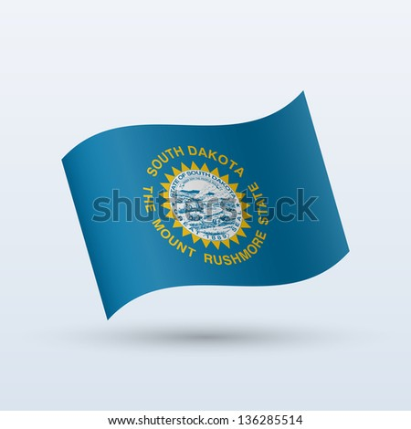 State of South Dakota flag waving form on gray background. Vector illustration.