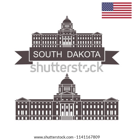 State of South Dakota. South Dakota State Capitol building. EPS 10. Vector illustration