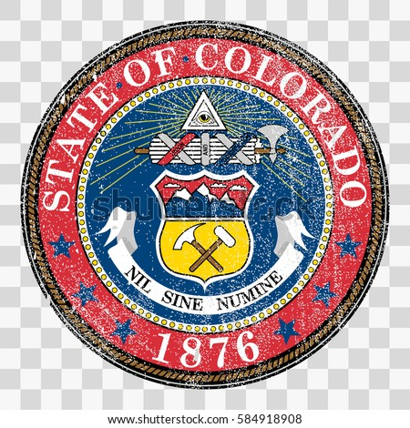 state seal of the USA state of Colorado. Coat of arms in grunge style, Stamp, vector distress textures. blank shapes.