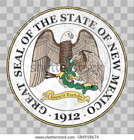 state seal of the USA state of New Mexico. Coat of arms in grunge style, Stamp, vector distress textures. blank shapes.
