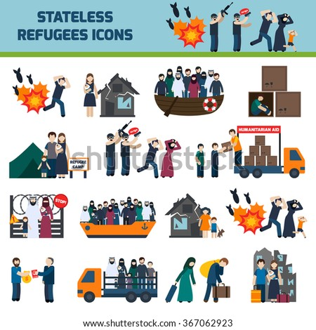 stateless refugees icons set