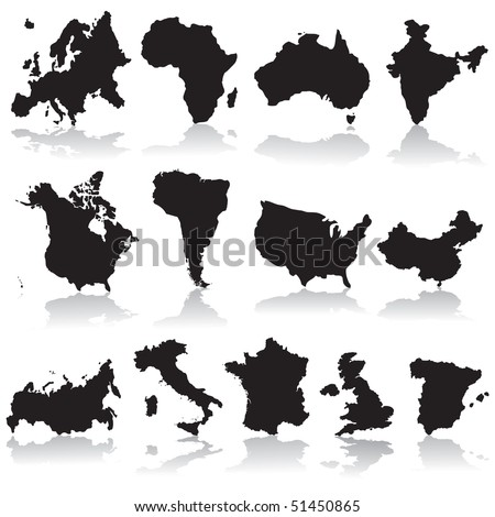 States and continents silhouettes