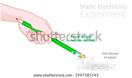 Static electricity experiment. Green pencil held, Charging by rubbing against woolen clothing, Picking up, pulling cut pieces of paper. Electric, electrical, magnetic test. Illustration draw vector