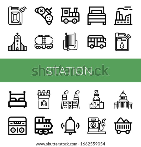 station icon set collection of