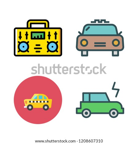 station icon set. vector set about radio, electric car and taxi icons set.