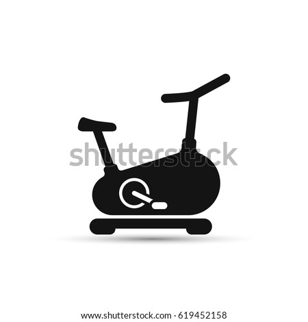 Stationary bicycle, Exercise Bike line icon, vector sign isolated on white bacground. Foto stock ©