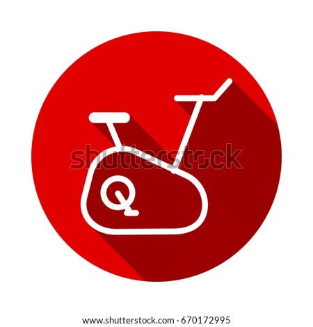 Stationary bicycle icon isolated on red background with long shadow. flat icon Foto stock ©