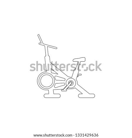 stationary bike. simple flat vector icon illustration. outline line symbol - editable stroke Foto stock ©