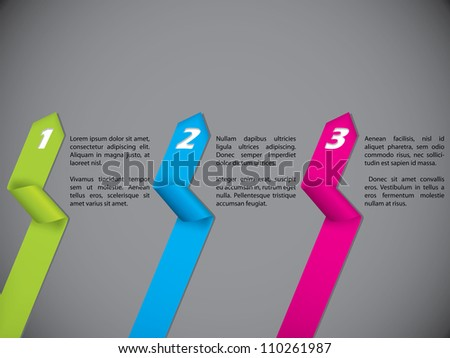 Stationary design set with color numbered ribbons on dark backdrop