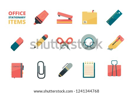 Stationary items. Business office tools paper folder pencil eraser pen paper clip stapler marker vector flat icons collection
