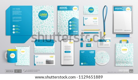 Stationary Mockup set of medical elements white and blue color design. Pharmacy corporate identity template for logo presentation. Business medical center branding mockup