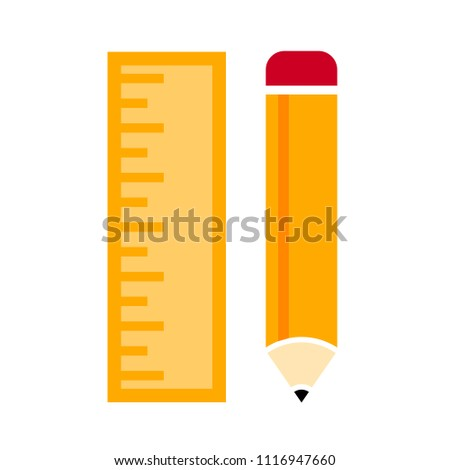 stationary vector icon, pencil and ruler - school education icon